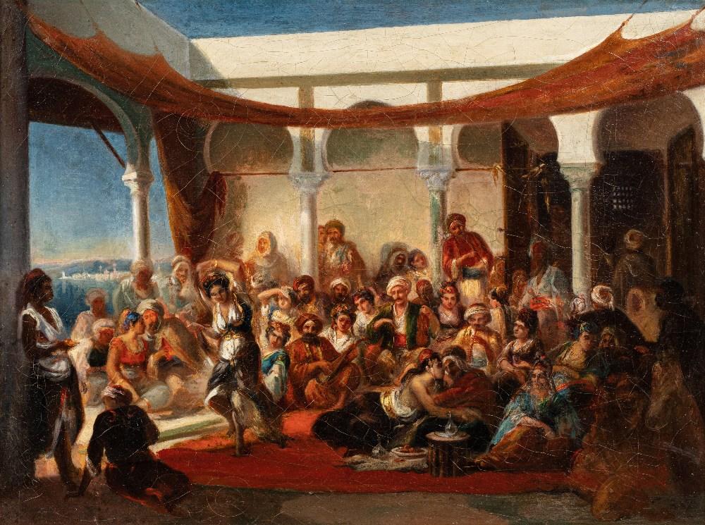 Alfred DEHODENCQ (Paris 1822-1882)Danseuse et favoritesHuile sur toile 40,5 x 54 cm Porte au dos sur