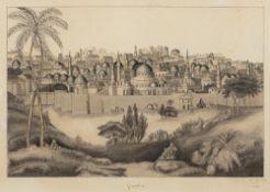 Jules HEUDEBERT (Actif au XIX ème siècle)Vue de JérusalemTrait de plume, encre et lavis d'encre 33 x