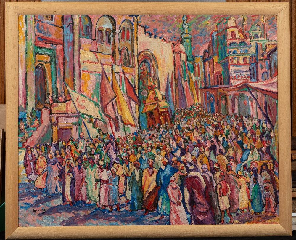 Pat WILSON (Actif au XX ème siècle)La procession du MahmalHuile sur carton 81 x 100 cm Signé en - Image 2 of 3