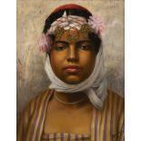 Luis ANGLADA PINTO (1873-1946)Portrait de jeune femmeHuile sur toile d'origine 41 x 33 cm Signé en