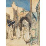Alméry LOBEL-RICHE (Genève 1877-Paris 1950)Fès-Bali - Mzara de Moulay IdrissAquarelle sur trait de