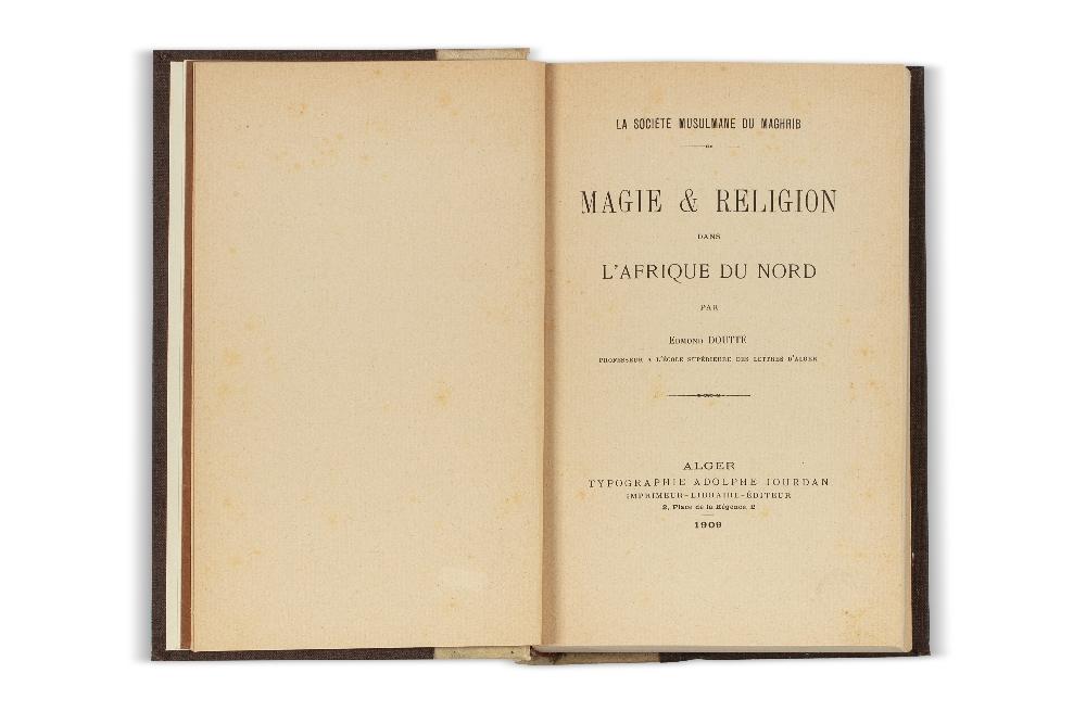 DOUTTÉ (Edmond)Magie & Religion dans l'Afrique du Nord. Alger, Jourdan, 1909.In-8 demi-vélin ivoire,