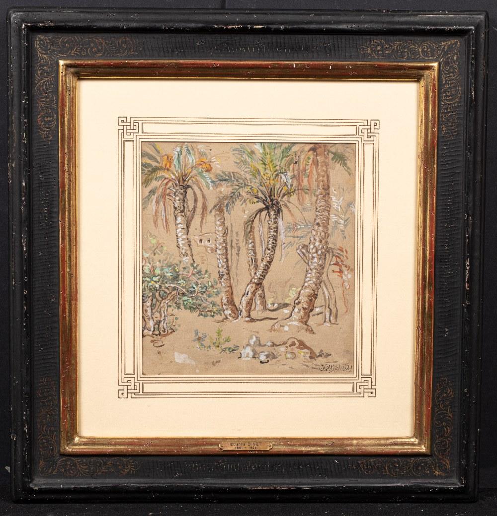 Etienne DINET (Paris 1861-1929)Dans la palmeraieAquarelle et rehauts de gouache 25 x 23 cm Cachet de - Image 2 of 2