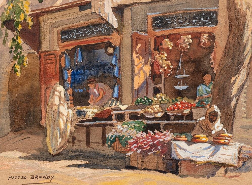 Matteo BRONDY (Paris 1866 - Meknes 1944)Le marchand de légumes (Boutiques)Aquarelle sur trait de