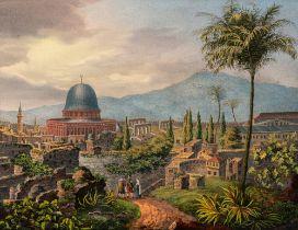 Vue de la mosquée d'Omar à JérusalemTitre original : Omar's Moschee in Ierusalem am Platze des