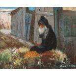 Nicolas GROPEANO (Bacau 1866 - Paris 1936)Le marchand de fruitsPastel sur carton fort 31 x 38 cm à