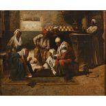 L. BERNARD (Actif au XIX ème siècle)Café orientalHuile sur toile d'origine 55 x 66,5cm Signé en