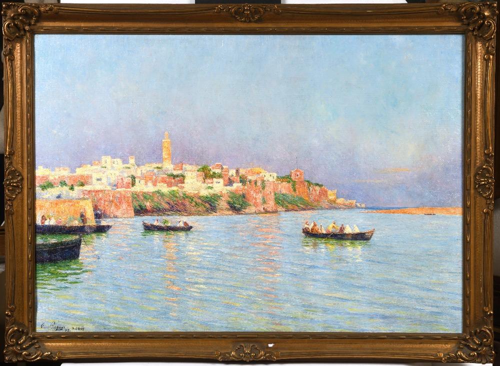 Omer COPPENS (Dunkerque 1864 - Ixelles 1926)Vue sur la baie de RabatHuile sur toile d'origine 69 x - Image 2 of 3