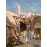 Lazare LEVY (1867- 1933)L'entrée des Souks à KairouanHuile sur toile d'origine 41 x 30,5 cm Signé en