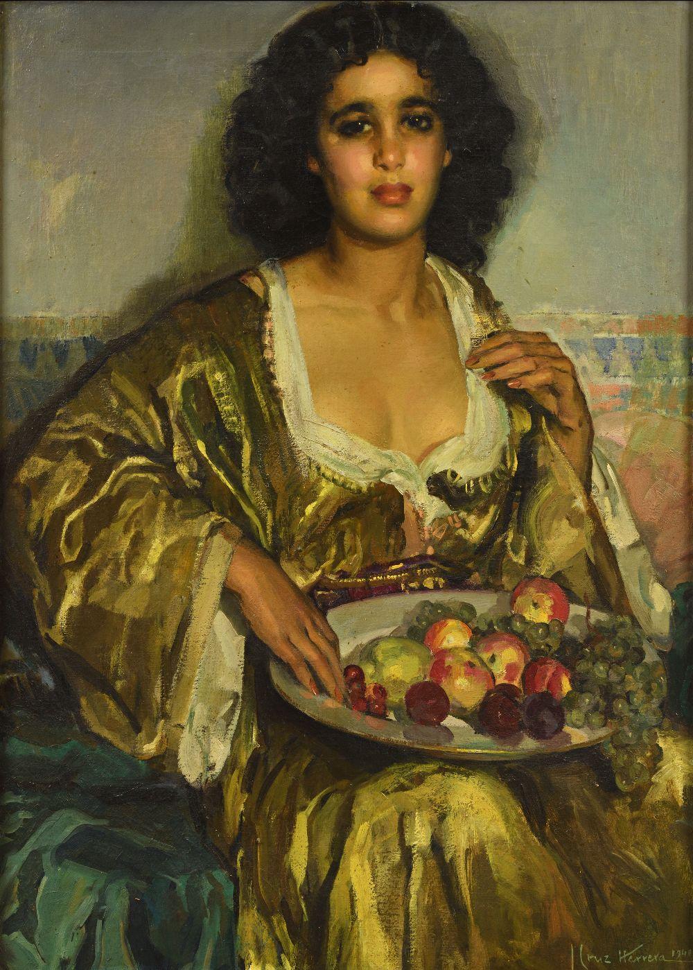 José CRUZ-HERRERA (La Linea de la Concepcion 1890-Casablanca 1972)Jeune fille au caftan jaune et à