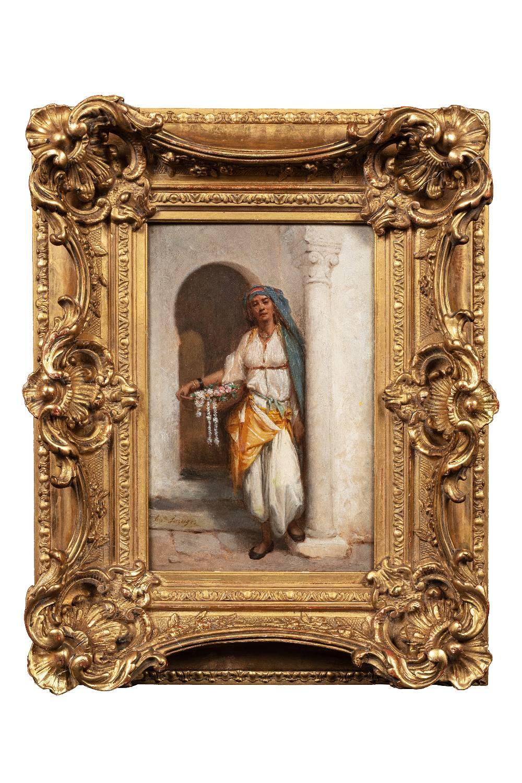 Hippolyte LAZERGES (Narbonne 1817-Mustapha 1887)Marchande de fleurs dans la kasbah d'AlgerHuile