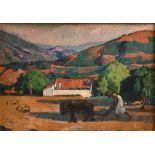 Augustin FERRANDO (Miliana 1880-1957)Laboureur à MilianaHuile sur carton fort 54 x 77 cm Signé en