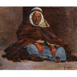 Armand ASSUS (Alger 1832- Cagnes 1977)L'homme au burnousHuile sur toile d'origine 60 x 73 cm Signé