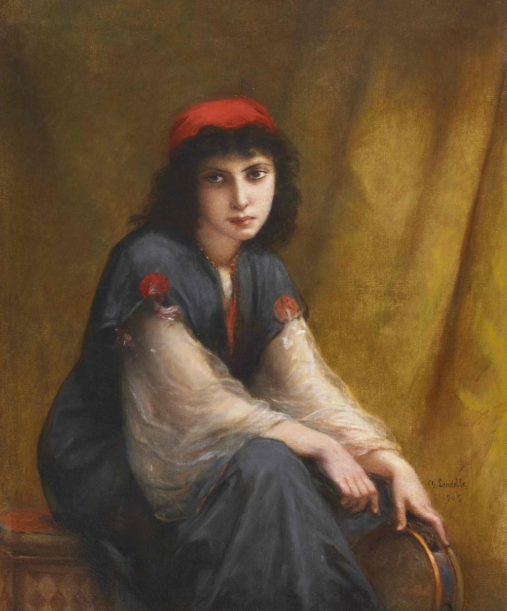 Charles Zacharie LANDELLE (Laval 1821 - Chennevières 1908)Jeune orientale au tambourinHuile sur
