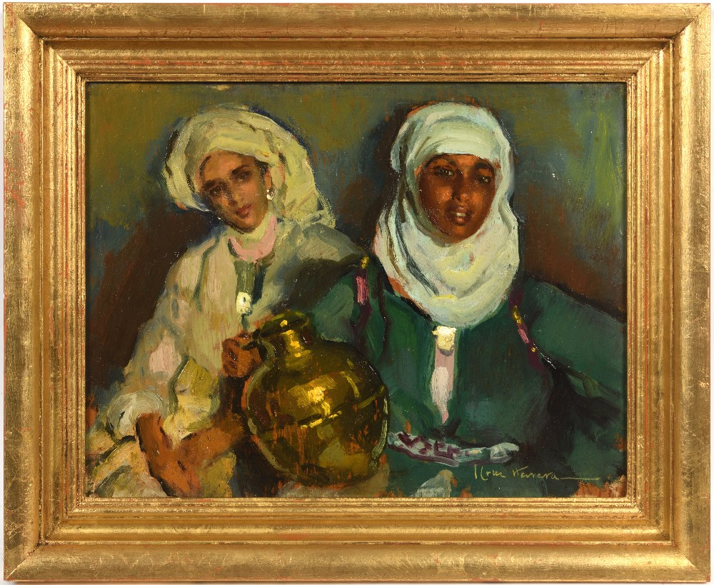 José CRUZ-HERRERA (La Linea de la Concepcion 1890-Casablanca 1972)Deux femmes à la jarre en cuivre - Image 2 of 3