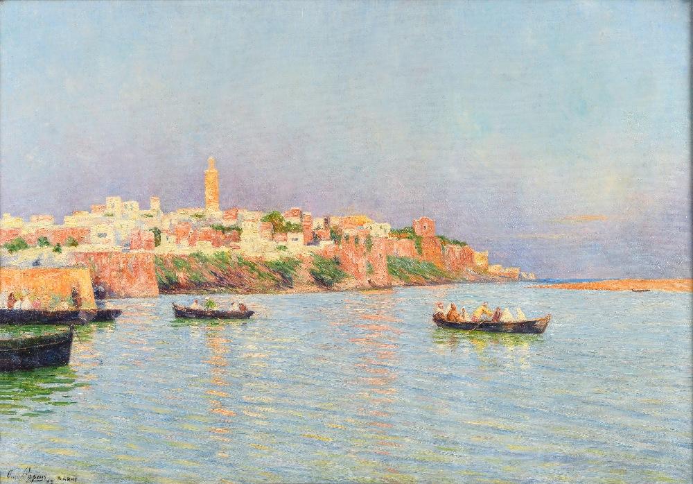 Omer COPPENS (Dunkerque 1864 - Ixelles 1926)Vue sur la baie de RabatHuile sur toile d'origine 69 x