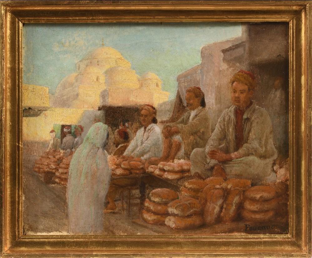 FOUCAUD (Actif au XX ème siècle )Marchands de pains devant Sidi MahrHuile sur toile d'origine 32 x - Image 2 of 3