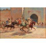 Matteo BRONDY (Paris 1866 - Meknès 1944)FantasiaHuile sur toile d'origine 38 x 55cm Signé en bas à
