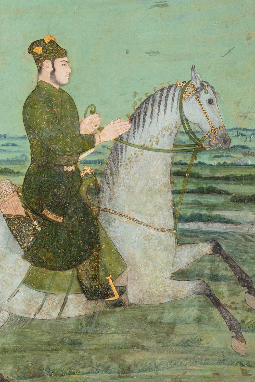 Portrait équestre d'un princeInde moghole, début du XVIIIe siècleGouache rehaussée d'or sur papier - Image 3 of 4