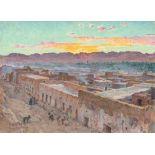 Etienne DINET (Paris 1861-1929)Coucher de Soleil sur LaghouatHuile sur toile d'origine 23.5 x 31.5
