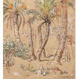 Etienne DINET (Paris 1861-1929)Dans la palmeraieAquarelle et rehauts de gouache 25 x 23 cm Cachet de