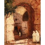 Georges LEMARE (Coutances 1866-1942)Entrée du souk, TunisHuile sur panneau une planche non