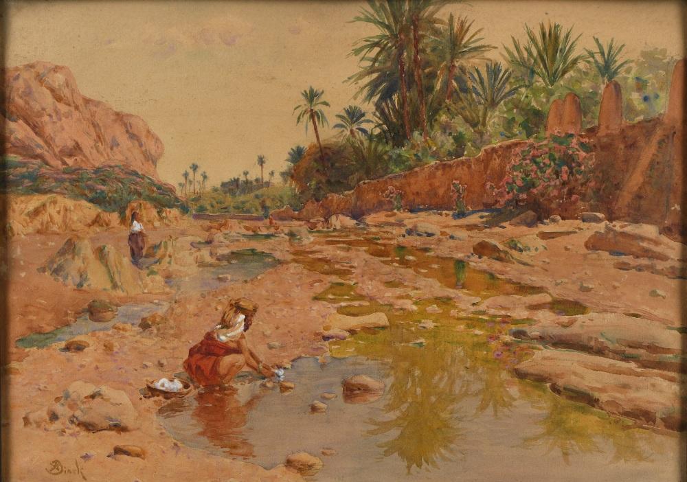 Alphonse BIRCK (Metz 1859- ?1942)Femmes au bord de l'ouedAquarelle et gouache sur papier 36,5 x 50