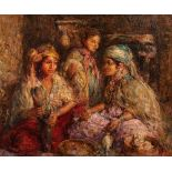 Edouard VERSCHAFFELT (Gand 1874 - Bou Saâda 1955)Les jeunes fileusesHuile sur toile 73 x 90 cm Signé