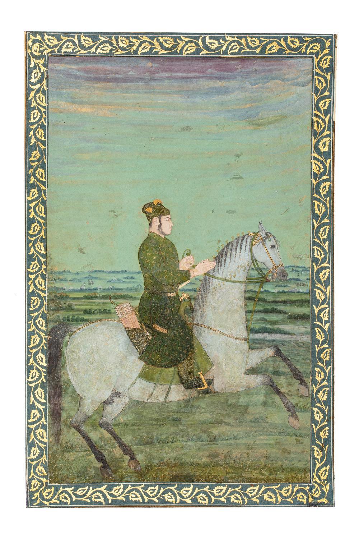 Portrait équestre d'un princeInde moghole, début du XVIIIe siècleGouache rehaussée d'or sur papier