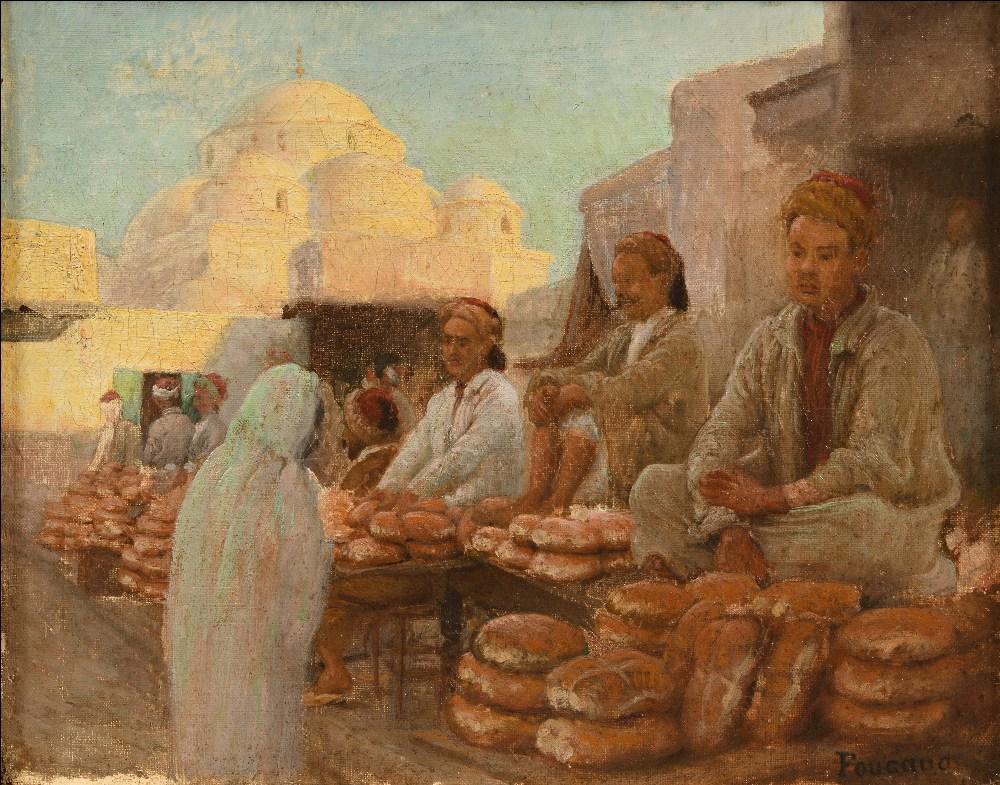 FOUCAUD (Actif au XX ème siècle )Marchands de pains devant Sidi MahrHuile sur toile d'origine 32 x