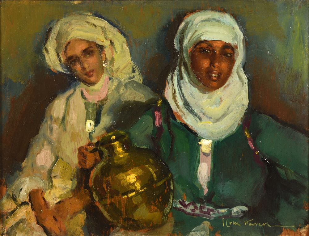 José CRUZ-HERRERA (La Linea de la Concepcion 1890-Casablanca 1972)Deux femmes à la jarre en cuivre