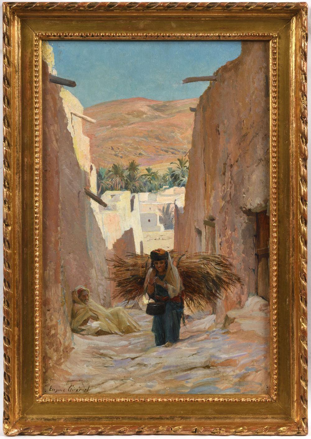 Eugène Alexis GIRARDET (Paris 1853-1907)Paysanne portant un fagotHuile sur panneau biseauté, une - Image 2 of 3