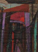 Faik HASSAN (Bagdad 1914–1992)Femme au voile violet, circa 1950Technique mixte sur papier 18,5 x