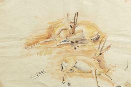 Omar ONSI (Tallet Al-Khayat 1901 - Beyrouth 1969)Les GazellesAquarelle sur papier 33 x 48 cm Signé