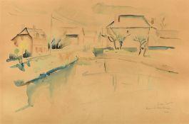 Georges CYR (Montgeron 1880 - Beyrouth 1964)Mare à La Neuville, 1931Aquarelle sur papier 32 x 48,5