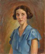 Omar ONSI (Tallet Al-Khayat 1901 - Beyrouth 1969)Portrait de femme, 1933Huile sur toile 54,5 x 65 cm