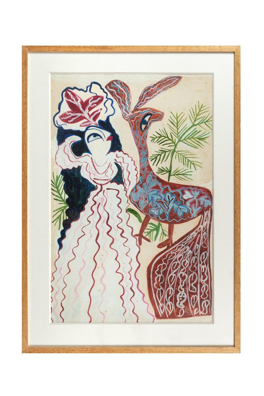 BAYA Fatma (Bordj el Kiffan 1931- Blida 1998)Dans les yeuxGouache sur papier contrecollé sur - Image 2 of 2