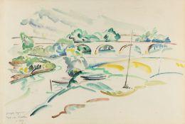 Georges CYR (Montgeron 1880 - Beyrouth 1964)Pont de l'Arche, 1929Aquarelle sur papier 34,5 x 52 cm
