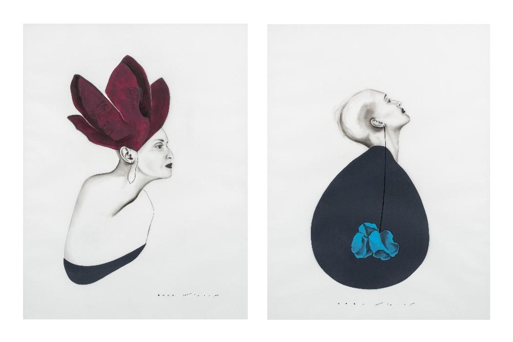 Bahareh NAVABI (Iran 1985)Le théâtre de la vie, 2020Crayon gras et acrylique sur calque polyester,