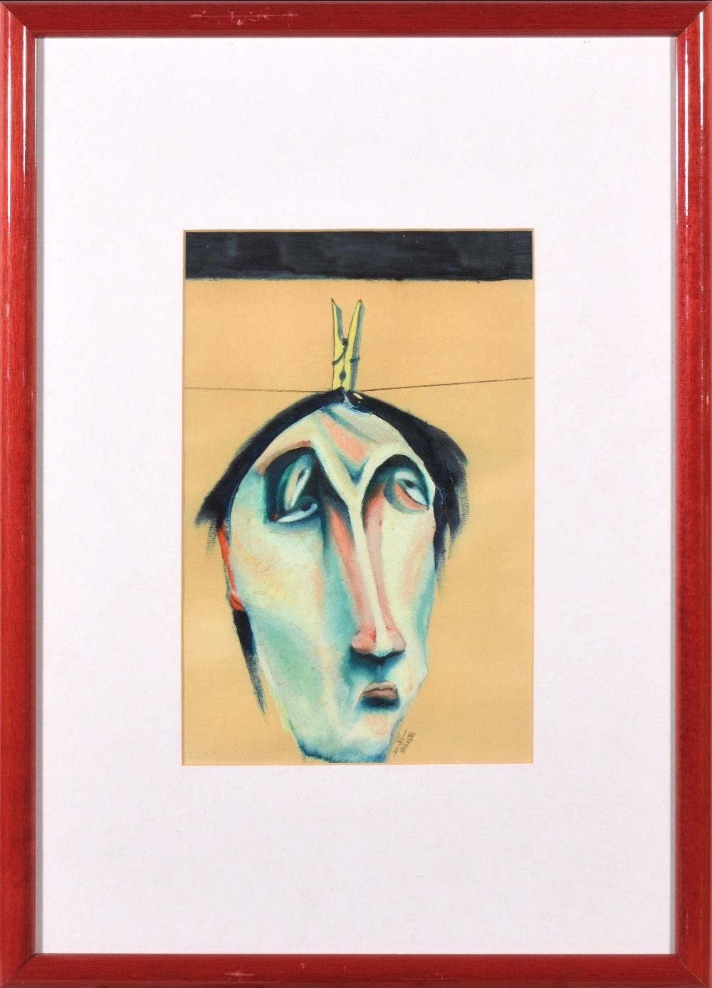 Saad YAGAN (Alep 1950)Sans titre, 1981Huile sur papier 28 x 18,5 cm à la vue Signé et daté en - Image 2 of 2