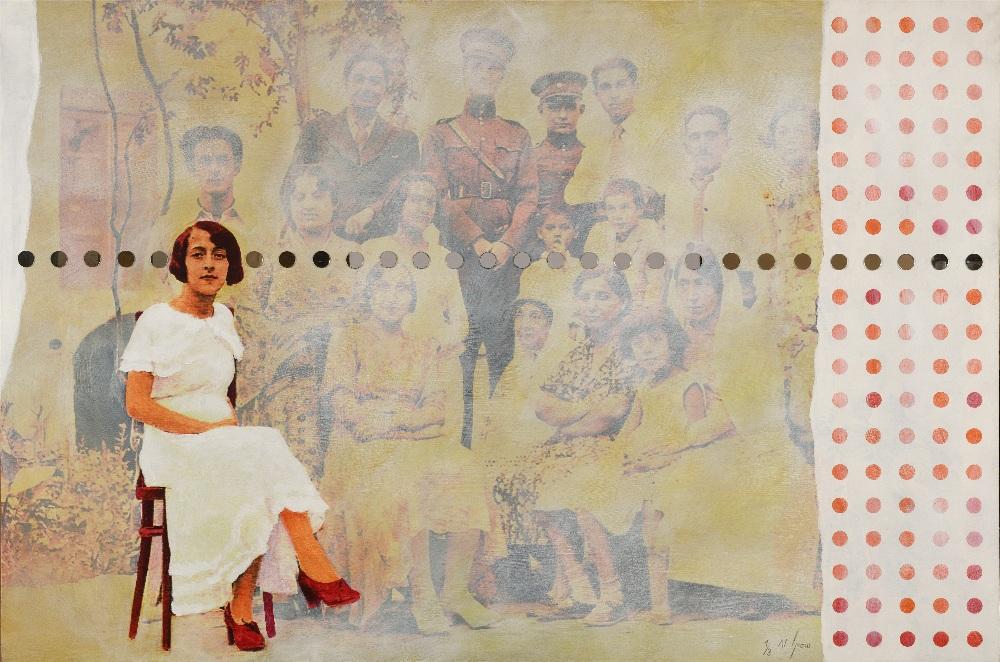 Samira ALIKHANZADEH (Iran 1967)#10, de la Série Family Album, 2008Acrylique, impression et collage