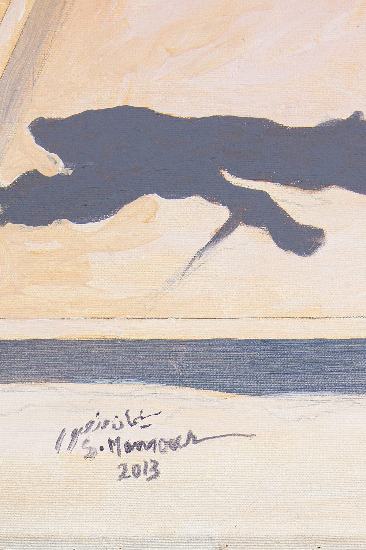 "Sliman MANSOUR (Bir Zeit 1947)My Grandchildern, 2013Huile sur toile 120 x 96 cm Signé en arabe """