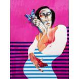 Saad YAGAN (Alep 1950)A woman and a butterly, 2017Acrylique sur toile 80 x 60 cm Signé en bas à