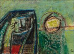 Faik HASSAN (Bagdad 1914–1992)Sans titre, circa 1950Technique mixte sur papier 13,5 x 17,5 cm