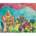 BAYA Fatma (Bordj el Kiffan 1931- Blida 1998)VillageGouache sur papier 47,5 x 57,5 cm Signé en bas à