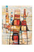 Fateh MOUDARESS (Alep 1922 - 1999)Dieux de la fertilité, 1988Acrylique sur toile 100 x 80 cm Signé