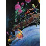 Adel YOUNESI (Hamadan 1985)Diptyque, 2009Acrylique sur toile, diptyque 200 x 300 cm (l'ensemble)