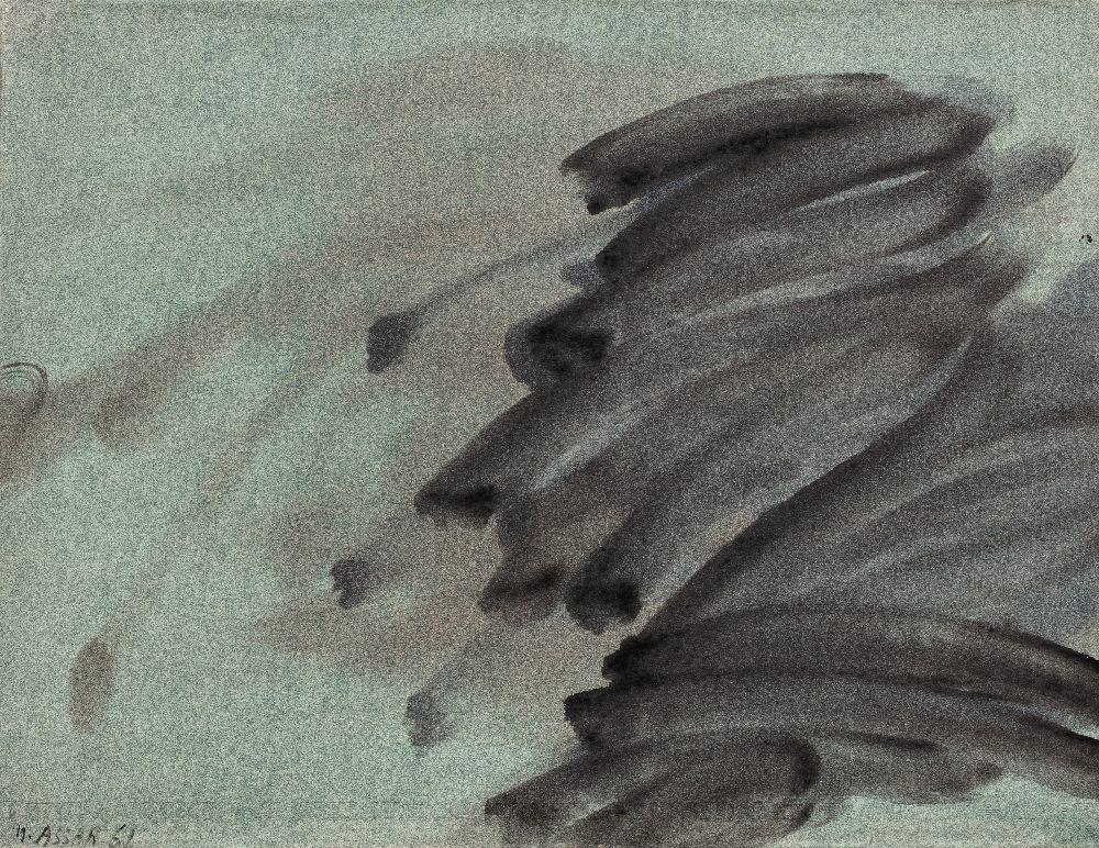 Nasser ASSAR (Téhéran 1928 - Paris 2011)Composition,1961Huile sur papier, marouflé sur toile 50 x 65