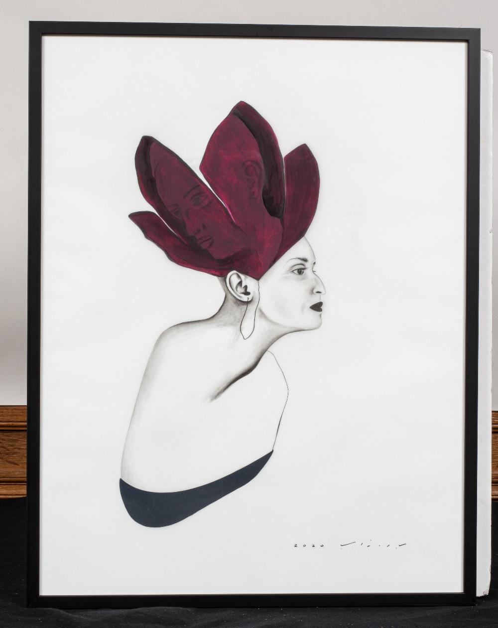 Bahareh NAVABI (Iran 1985)Le théâtre de la vie, 2020Crayon gras et acrylique sur calque polyester, - Image 2 of 3