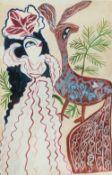 BAYA Fatma (Bordj el Kiffan 1931- Blida 1998)Dans les yeuxGouache sur papier contrecollé sur